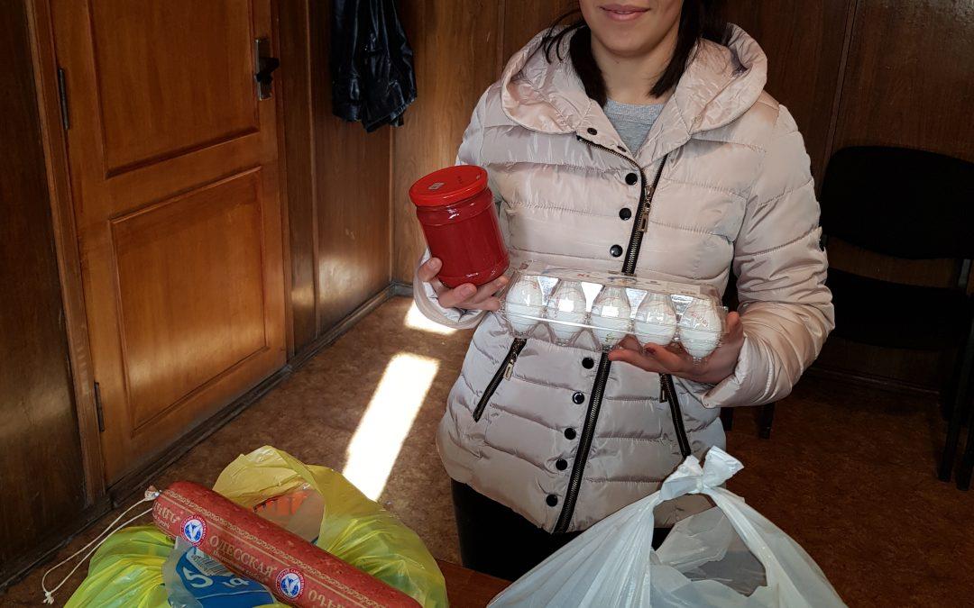 Blij met voedselpakketten